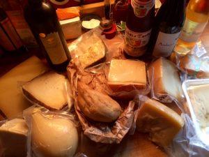 Sard cheese and wine